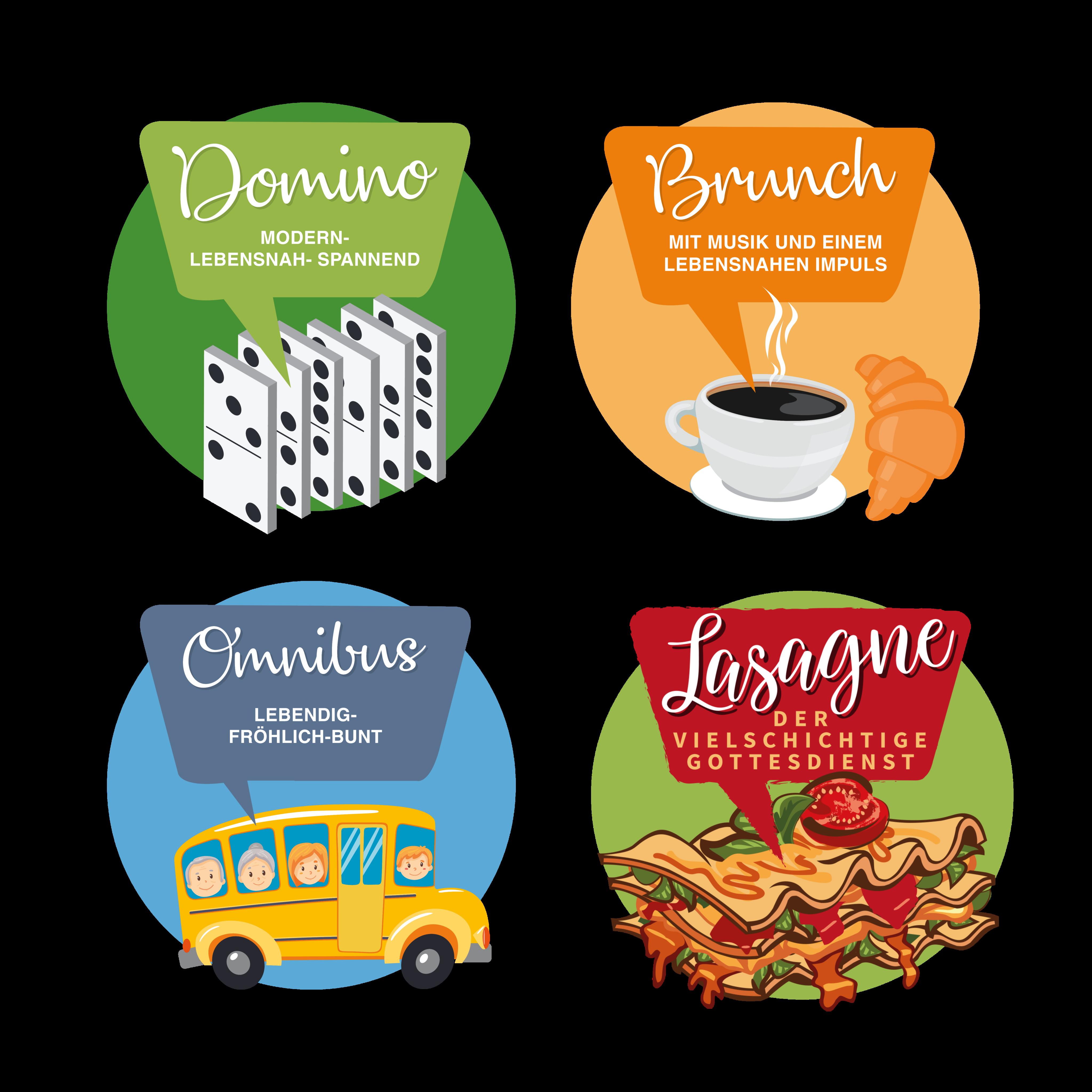 4 Gottesdienst-Logos: Domino, Brunch, Omnibus, Lasagne