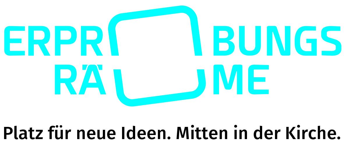 Logo: Erprobungsräume - Platz für neue Ideen. Mitten in der Kirche.